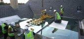 large retractable roof installation